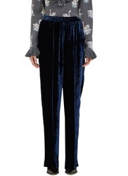 Stella Mccartney Camilla Velvet Wide Leg Pants Navy