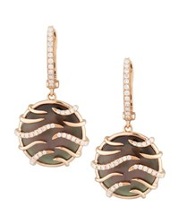 Luna Mini 18K Rose Gold Diamond Mother Of Pearl Earrings Black
