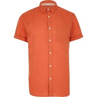 River Island Mens Red Linen Rich Short Sleeve Shirt