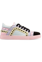 Sophia Webster Riko Laser Cut Leather And Suede Sneakers Pink