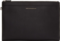 Want Les Essentiels Black Leather And Canvas A4 Barajas Document Pouch