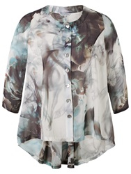 Chesca Abstract Print Top Grey Turquoise