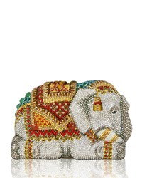 Judith Leiber Couture Crystal Encrusted Elephant Clutch Bag Red Multi Rhine Multi