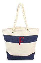 Cathy's Concepts Personalized Stripe Canvas Tote Blue Navy F