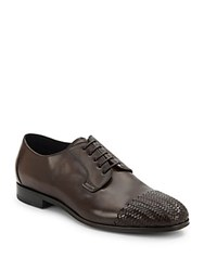 Brioni Wove Cap Toe Leather Derby Shoes Brown