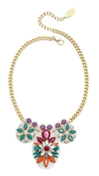 Adia Kibur Floral Jewel Necklace Fuschia