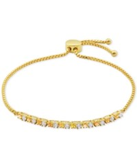 Giani Bernini Cubic Zirconia And Pink Iridescent Stone Adjustable Slider Bracelet In 18K Gold Plated Sterling Silver Only At Macy's Yellow Gold