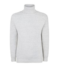 Richard James Heavy Knit Roll Neck Sweater Male Light Grey