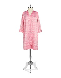 Miss Elaine Patterned Zip Front Robe Rose White