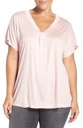 Sejour Plus Size Women's Rib Trim V Neck Tee Pink Silver