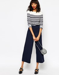 Monki Button Detail Cropped Trousers Blue