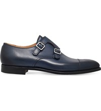 Crockett Jones Lowndes Leather Monk Shoes Blue