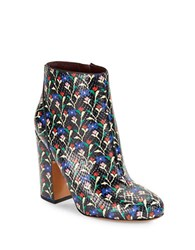 Marc Jacobs Cora Floral Leather Ankle Boots Black