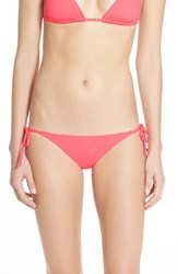 Becca Women's 'Color Code' Side Tie Bikini Bottoms Poppy Pink