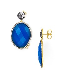 Freida Rothman Faceted Blue Agate Drop Earrings Blue Gold