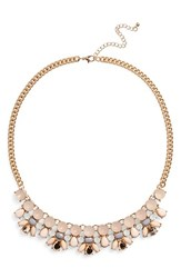 Junior Women's Girly Milky Crystal Statement Necklace Milky Pink Burnished Gold