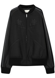 Gucci Charcoal Embroidered Wool Blend Bomber Jacket Dark Grey