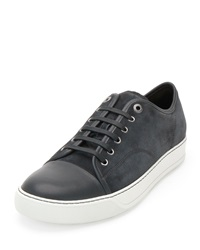 Lanvin Matte Cap Toe Low Top Sneaker Gray