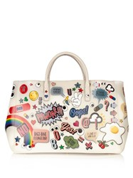 Anya Hindmarch All Over Stickers Maxi Featherweight Ebury Tote White Multi