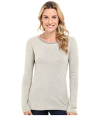 Dylan By True Grit Micro Slub Stripe Long Sleeve Crew Tee Khaki Women's T Shirt
