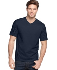 John Ashford Big And Tall Solid V Neck T Shirt Navy Blue