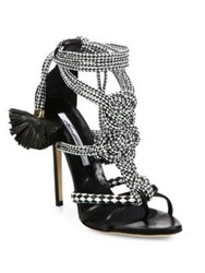 Brian Atwood Yuna Braided Leather Sandals Black White