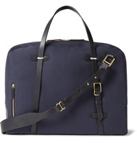 Miansai Monroe Leather Trimmed Canvas Holdall Navy