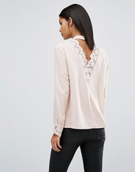 Vila Open Back Top With Lace Detail Rose Dust Pink
