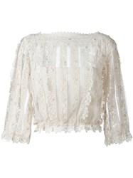 Red Valentino Boat Neck See Through Blouse White