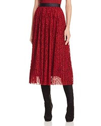 Alice Olivia Mikaela Pleated Lace Midi Skirt Bordeaux