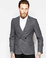 Noose And Monkey Puppytooth Double Breasted Blazer With Chain In Super Skinny Fit Gray