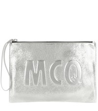 Mcq By Alexander Mcqueen Embossed Metallic Leather Clutch Silver