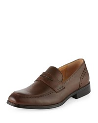Neiman Marcus Palmer Brogue Trim Leather Loafer Tobacco