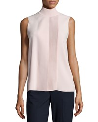 Vince Laser Cut Sleeveless Turtleneck Top Women's Chambray