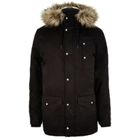 River Island Mens Black Faux Fur Trim Padded Parka