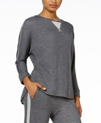 Karen Neuburger Lace Inset Pajama Sweatshirt Heather Charcoal