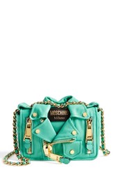 Moschino 'Mini Leather Jacket' Crossbody Bag Green Mint