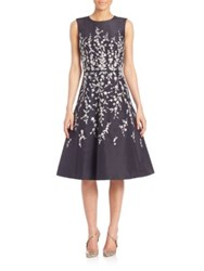 Oscar De La Renta Floral Embellished Silk Cocktail Dress Blue Silver