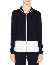 Callens Colorblock Cashmere Zip Hoodie White Navy Navy White