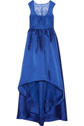 Mikael Aghal Lace Paneled Asymmetric Satin Twill Gown Blue
