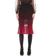 Alexander Mcqueen High Waisted Knitted Midi Skirt Black Red