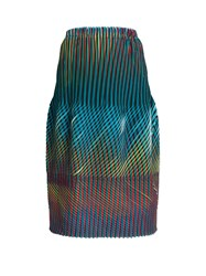 Issey Miyake Prism 2 Striped And Pleated Skirt Blue Multi