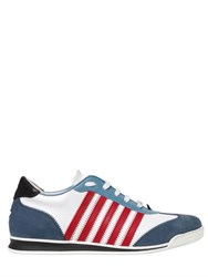 Dsquared Striped Leather And Nubuck Sneakers