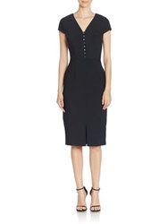 David Meister V Neck Short Sleeve Sheath Dress Black