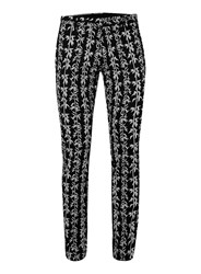 Topman Black And White Bamboo Print Ultra Skinny Fit Suit Trousers