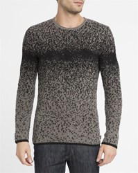 Armani Jeans Black And Grey Flecked Graduated Large Stitch Round Neck Sweater