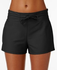 Go By Gossip Cover Up Drawstring Board Shorts Women's Swimsuit Black