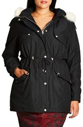 City Chic Plus Size Women's 'London Look' Faux Fur Trim Hooded Parka
