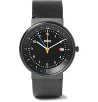 Braun Bn0142 Classic Stainless Steel And Leather Watch Black
