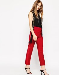 Asos Cigarette Trouser With Tuxedo Detail Red